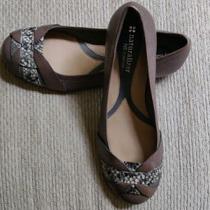 Naturalizer Leather Flat Reptile Print Accent 7M